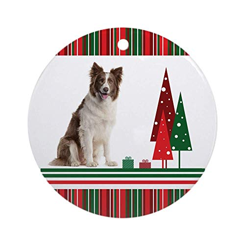 10CIDY Border Collie Christmas Ornament (Round) Round Holiday Christmas Ornament Xmas Gifts Christmas Tree Ornaments Ideas 2019