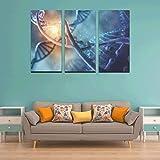 WYYWCY 3 Panel Leinwand Wandkunst für Wohnzimmer DNA Molecular Map Gemälde für Wände Badezimmer Wandkunst Herren Wandmalerei für zu Hause Wohnzimmer Schlafzimmer Badezimmer Wanddekor Poster