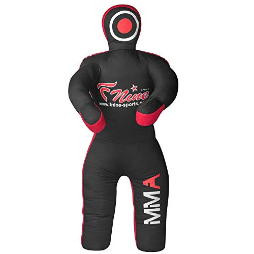 FNine Sports MMA Grappling Dummy, for Judo, Wrestling, Brazilian Jiu Jitsu, Submission and Throwing UNFILLED Canvas Bag (Black Red, 47 Inches (4 feet))