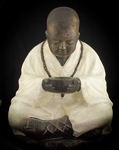 Rococo Figura Buda Monje Shaolin Sentado con Cuenco de 70x50 c