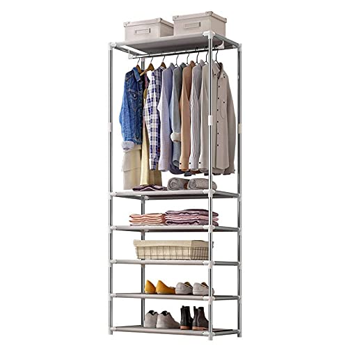 N\C Armario de 6 pisos multifuncional perchero con barra colgante estante de almacenamiento pasillo árbol zapatero fácil instalación 174 cm