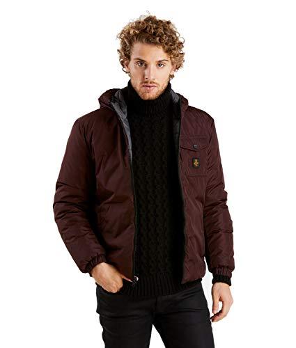 RefrigiWear Giubbotto invernale reversibile MIDTOWN per uomo con cappuccio, impermeabile e antivento, con imbottitura ecologica in piuma sintetica
