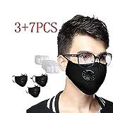 CRITY Bandanas reutilizables de algodón lavables Protección facial completa transpirable con válvula...
