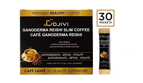 Dodjivi Ganoderma Reishi Mushroom Coffee, Slim Premium Instant Coffee Herbal Superfood Blend - Focus Natural Energy - Wellness Immunity - (1 Box of 30 Bags)