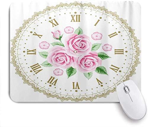 Gaming Mouse Pad rutschfeste Gummibasis, einzigartige Vintage Uhr Zifferblatt Rosen römische Zahlen antik, für Computer Laptop Schreibtisch