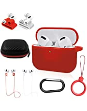NANTING Airpods Pro Case Cover, Airpods Pro Accessoires 8 in 1 kit, Siliconen Cover voor Apple Airpod Gen3 met Ring/Horloge Band Airpods Pro Houder/Sleutelhanger/Draagdoos (Rood)