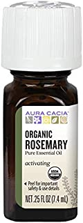 Aura Cacia Organic Rosemary Essential Oil | GC/MS Tested for Purity | 7.4ml (0.25 fl. oz.)