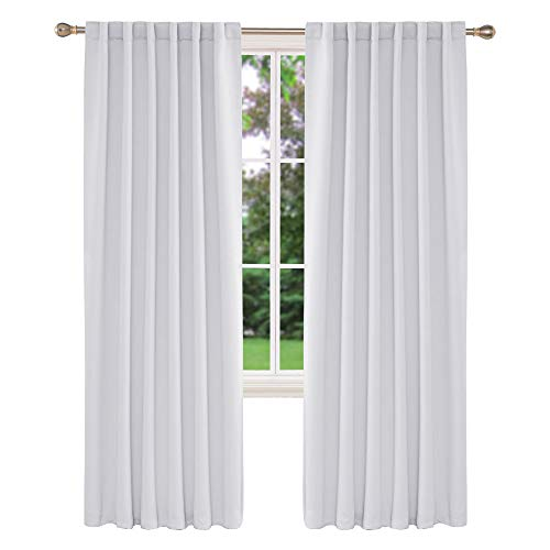 Deconovo Solid Back Tab Curtains Blackout Curtains Thermal Insulated Drapes and Curtains Room Darkening Curtains for Living Room 52x84 Inch Greyish White 2 Panels