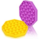 Push Pop Bubble Sensory Fidget Toy, Silicone Anxiety Stress Reliever for Autism, Stress Relief Toy, Squeeze Sensory Toy for Kids, Family, 2 Pack (Octagon, Yellow & Purple)