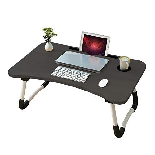 Table de lit pour Ordinateur Portable Bureau de Lit Pliante Lapdesk avec Emplacement de Ipad Surport PC Pliable pour Le Petit déjeuner Lire Regarder des Films(Noir avec Porte-gobelet )