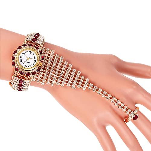 YHD Reloj De Mujer De Moda,Damas De Moda Llena De Diamantes Reloj De Sistema del Anillo De Cadena De La Garra(Charm De Oro Rosa)