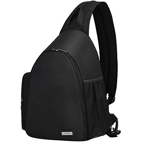 CADeN Kamerarucksack Fotorucksack Wasserabweisend Sling Schultertasche Case Bag Kompatibel mit Spiegelreflex kameras 1 DSLR SLR 3 Objektiv Sony Canon Nikon Stativ(Schwarz)