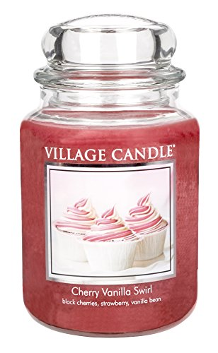 Village Candle 106326379 Cherry Vanilla Swirl Pot de Verre, Rouge, 10,5 x 10,3 x 17 cm