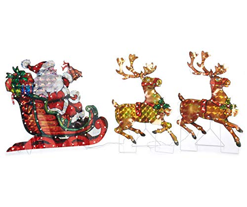 North Pole Christmas 5ft Long / 26' High Lighted Holographic Santa Sleigh with Reindeer Yard Decoration with 150 Lights
