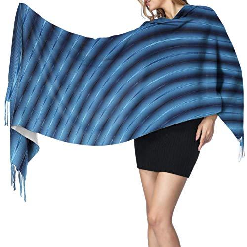 Abstracto 3d líneas azules licuadora bufanda con flecos para mujer, chales, bufandas, cachemira, 196 x 68 cm, grande y suave, extra cálido