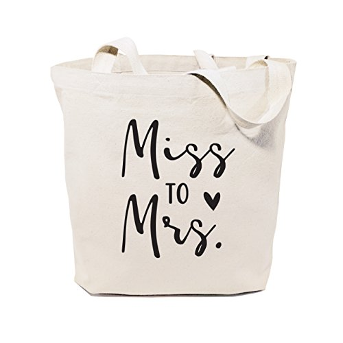 The Cotton & Canvas Co. Miss to Mrs. Wedding, Beach, Shopping and Travel Resusable Shoulder Tote and Handbag