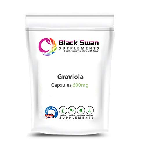 Black Swan Graviola 600mg Capsules – Natural Supplement – with Anti-oxidant and Anti-inflammatory Properties – Support Joint Health – Healthy Immune System – Made in UK (120 Caps)