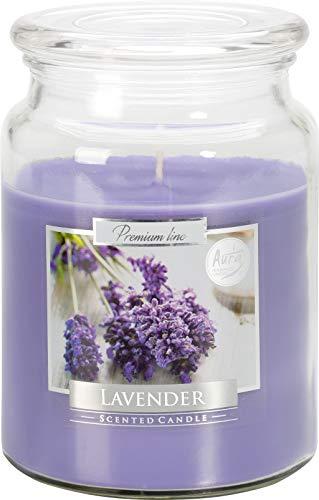 Große Duftkerze in einem Glas mit Deckel, bis zu 100 Stunden intensive Lavendelduftkerze 14 cm hoch und 9,9 cm im Durchmesser