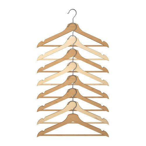 IKEA drewniane wieszaki na ubrania Bumerang zestaw 8 wieszaków z litego drewna liściastego – kolor naturalny – akryl lakierowany