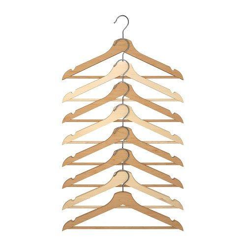 "IKEA Holzkleiderbügel \""Bumerang\"" 8-er Pack Bügel aus massivem Laub-Holz - naturfarben - Acryl lackiert"