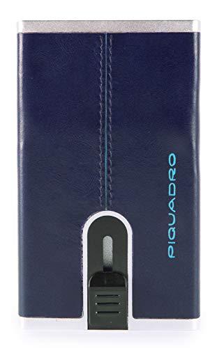 Piquadro Porta Carte di credito metallico orgz.to in Pelle, Accesorio de Viaje-Billetera Unisex Adulto, Blu2, Talla única