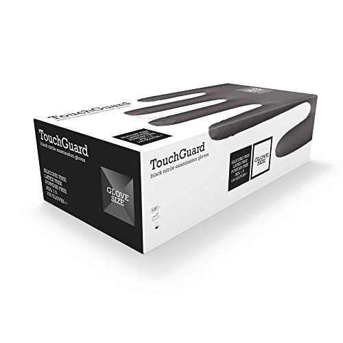 TouchGuard - Guantes de nitrilo negros desechables sin polvos ni látex, caja de 100 unidades, extragrandes