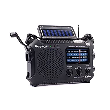 Kaito KA500 5-way Powered Emergency AM/FM/SW NOAA Weather Alert Radio with Solar,Wind Up,Dynamo Crank,Flashlight and Reading Lamp, Cellphone Charger,Color Black