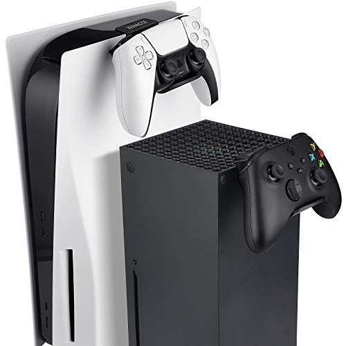 ZENACCE Game Controller Holder Compatible with PS5 and Xbox Series X, Controller Stand Mount for Playstation 5 DualSense and Xbox Series X Controllers, No Screws & No Adhesive Tape - Black