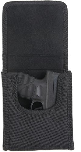 """Bulldog Cases """"Vertical"""" Cell Phone Holster with Belt Loop and Clip fits sub-compact """"vertical"""" .380 auto's (Sig P238) in Black Nylon"""