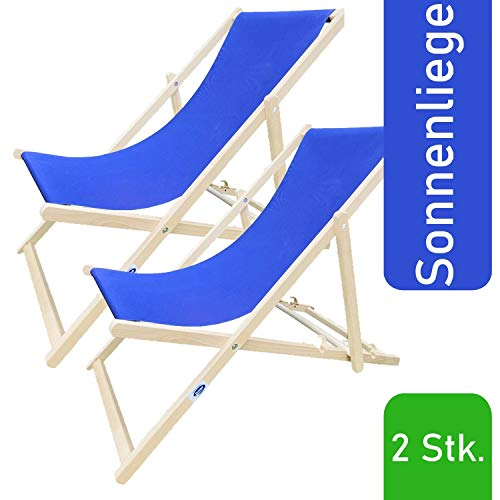 Decorwelt - Tumbona de jardín, regulable, plegable, con respaldo alto, tumbona de madera, Azul 2 unidades.