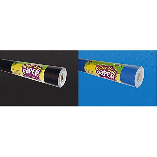 Teacher Created Resources Better Than Paper Bulletin Board Roll, Black - 77314 & Better Than Paper Bulletin Board Roll, Royal Blue - 77370