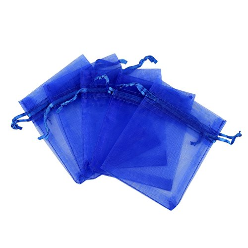 Anleolife 100pcs 3x4 inch Organza Drawstring Bags Blue Sheer Organza Favor Bags for Wedding Party Baby Shower Business Display Jewelry Candy Organizer Bag Mesh Gift Pouches