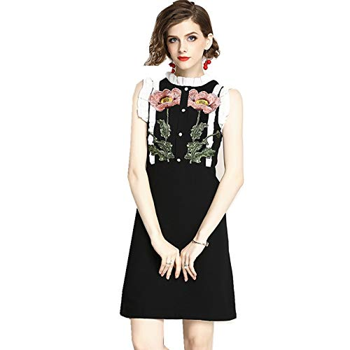 QUNLIANYI Robe Longue Gatsby Broderie Florale Une Robe sans Manches Robe Papillon O Neck Pearls Back Zipper Femme Mini Robe L