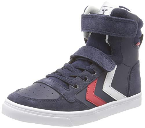 hummel Unisex-Kinder Slimmer Stadil Leather HIGH JR Hohe Sneaker, Blau (Peacoat 7666), 30 EU