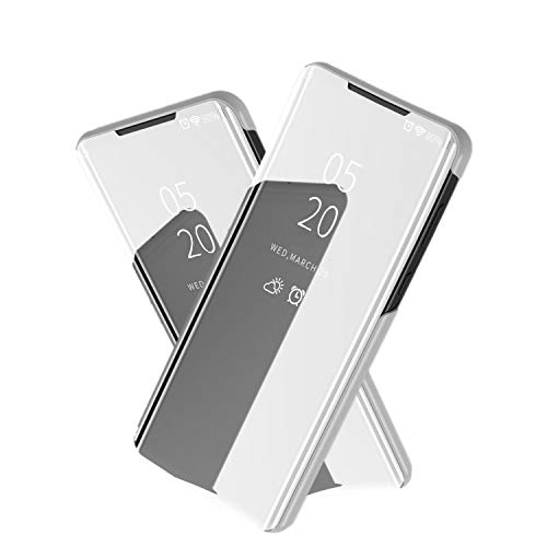NOKOER Case for Samsung Galaxy S20 FE 5G, Mirror Flip Vertical Bracket Holster Phone Case[Ultra-thin] [Slim Fit] [Translucent Mirror] [Slip-Resistant] - Silver