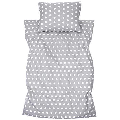 Amilian Ropa de cama infantil de 2 piezas, 100% algodón, ropa de cama para bebé, funda nórdica de 100 x 135 cm, funda de almohada de 40 x 60 cm, con cierre de hotel de lunares grises