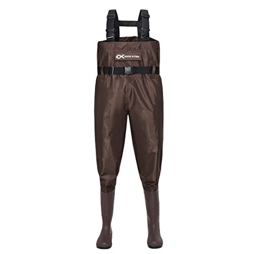 Duck and Fish Brown Chest Wader Cleated Boot Foot with Waist Belt (6 M US Men / 8 M US Women)