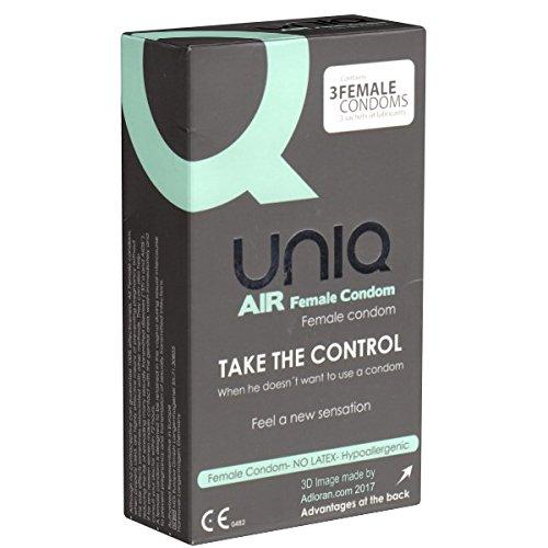 UNIQ AirFemale Frauenkondom, latexfreie Frauenkondome ohne festen Ring - einfaches Platzieren und sicherer Halt - passt sich dem weiblichen Körper perfekt an - auch mit ölhaltigen Gleitmitteln verwendbar, 1 x 3 Stück