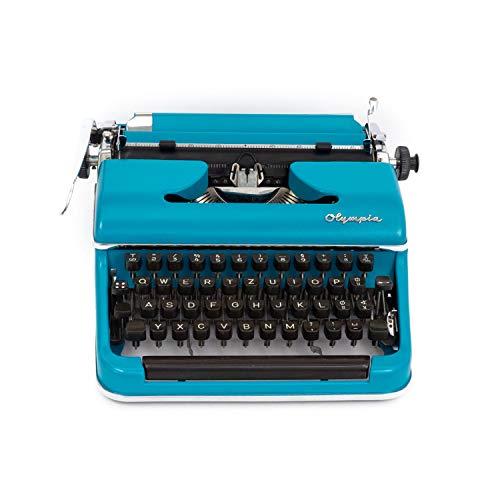 Blaue vintage Schreibmaschine mit neuem Farbband   Olympia SM2   Geschenk   Wohndeko 50er Jahre Stil