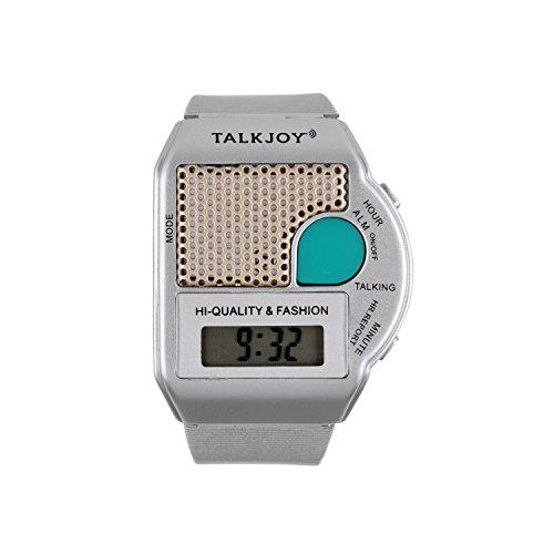 Sprechende Armbanduhr Silber Uhr Wecker Ansage Uhrzeit auf Knopfdruck Blindenuhr Seniorenuhr Sehbehinderung Sehschwäche Digitale Alltagshilfe