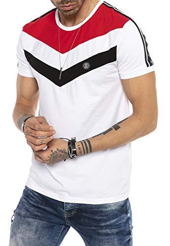 T-Shirt Herren Kurzarm Gestreift Streifen Style Casual Designer Shirts Weiß L