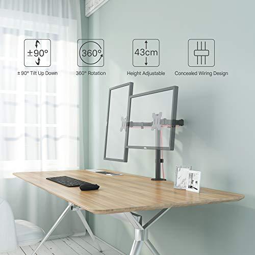 BONTEC Monitor Halterung 2 Monitore 13-27 Zoll LED/LCD Schreibtisch Bildschirm Halterung, Monitor Tischhalterung neigbar 180° schwenkbar 360° höhenverstellbar, 10 kg pro Arm, VESA 75/100, Schwarz