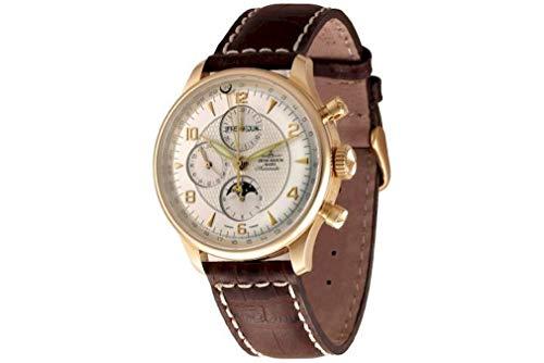 Zeno-Watch Godat II 6273VKL-RG-f2 - Reloj de pulsera para hombre (calendario completo, cronógrafo de 18 quilates), color rojo y dorado