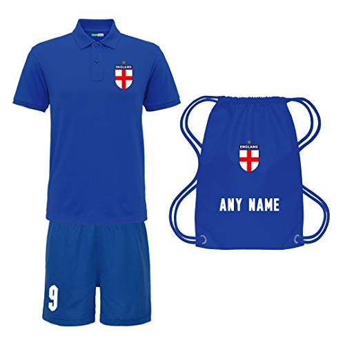 Sportees Retro Kids Child Personalised Royal Blue England Away Style Tournament Football Kit Bundle FREE Bag Latest Style Youth Football England Boys Or Girls Football Jersey 56 Years