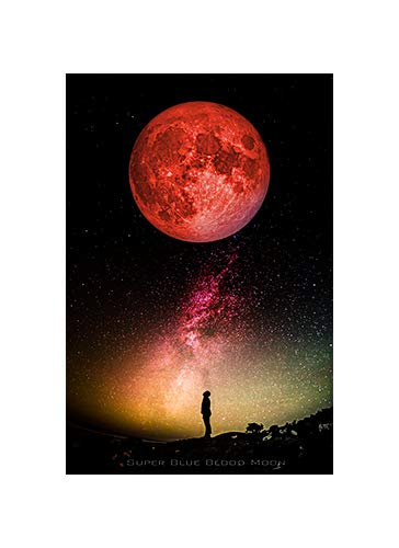 Super Blue Blood Moon Commemorative Poster - NASA Space Image Wall Art 24' x 36' (Unframed) - Lunar Eclipse handmade Giclee Premium Paper 200 Year Archival inks made in the U.S.A