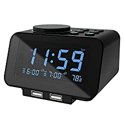 USCCE DigitalAlarm Clock Radio - 0-100% Dimmer, Dual Alarm with Weekday/Weekend Mode, 6 Sounds Adjustable Volume, FM Radio w/Sleep Timer, Snooze, 2USB Charging Ports,Thermometer, Battery Backup