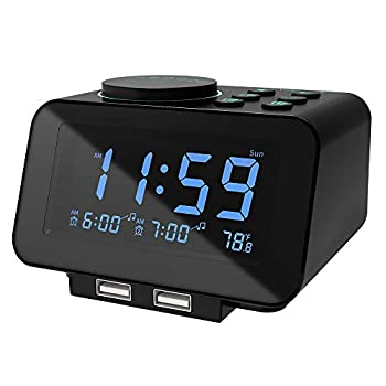 USCCE DigitalAlarm Clock Radio - 0-100% Dimmer Dual Alarm with Weekday/Weekend Mode 6 Sounds Adjustable Volume FM Radio w/ Sleep Timer Snooze 2USB Charging Ports,Thermometer Battery Backup