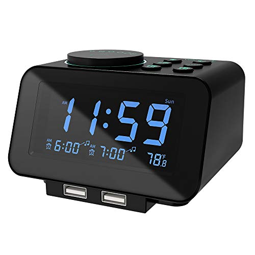 USCCE Digital Alarm Clock Radio - 0-100% Dimmer, Dual Alarm with Weekday/Weekend Mode, 6 Sounds...