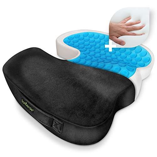 SaniVerde® Ergonomisches Sitzkissen - Orthopädisch unterstützend, wirkt Schmerzreduzierend, Kühlendes Kissen zur Rücken & Steißbein Entlastung, Gelkissen mit Bezug für Büro, Home-Office & Auto