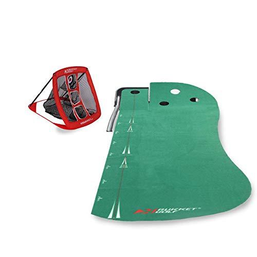 Rukket Golf 2-in1 Putting Green & Pop-Up Golf Chipping Net Bundle